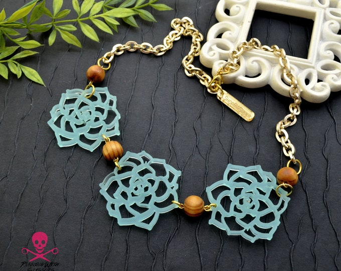 SUCCULENT TRIO Bib Necklace - Laser Cut Acrylic