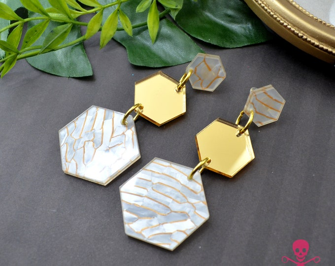 GOLD WAVES HEXAGONS - Triple Drop Dangles - Post Earrings - Laser Cut Acrylic - Geometric Glam Collection