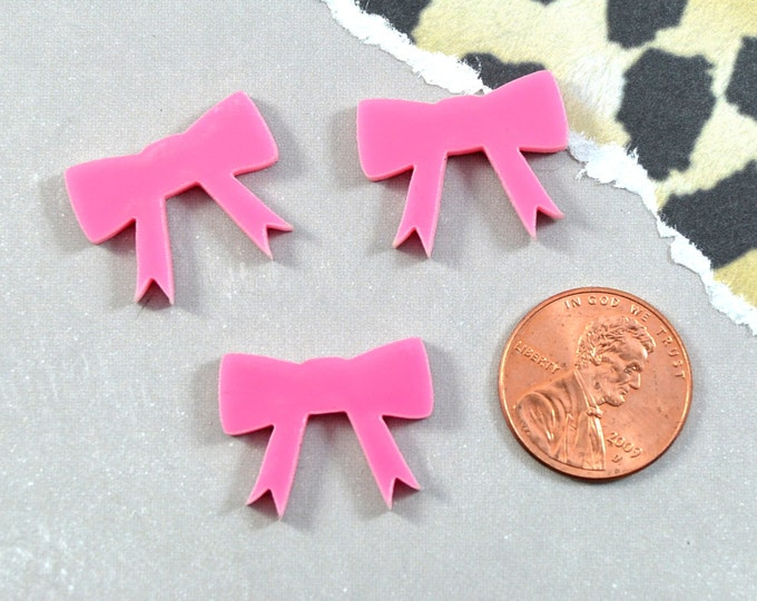 PINK BOW CABS - Set of 3 Cabochons in Laser Cut Acrylic