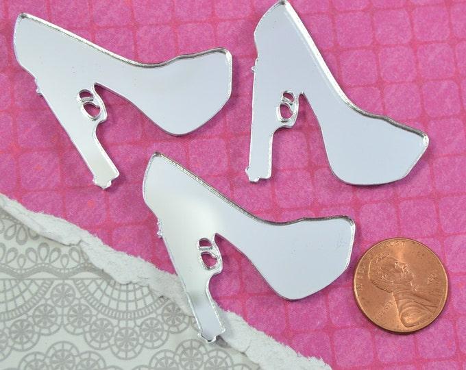 3 SILVER MIRROR Trigger Heel - Cabs in SILVER Mirror Laser Cut Acrylic