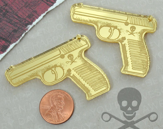GOLD PISTOL CHARMS- 2 Guns in Gold mirror Laser Cut Acrylic