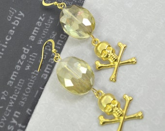 OPULENCE- Gold Skull Charm Crystal Earrings