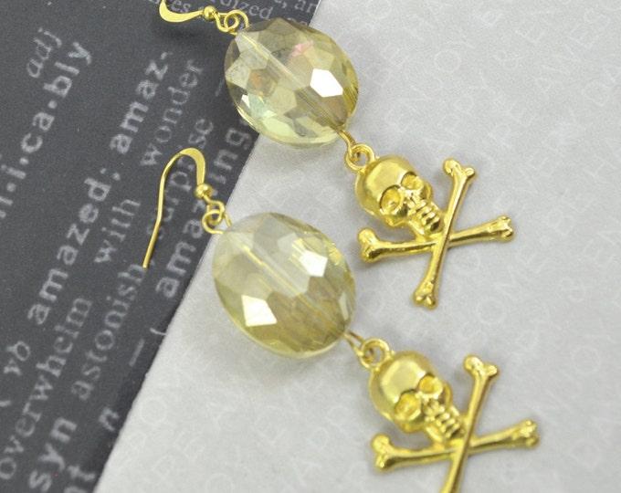OPULENCE- Gold Skull Charm Crystal Earrings