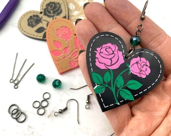 EARRING KIT - Rose Heart Dangles - Choose Your Colors - Design, Paint, and Make Your Own - DIY