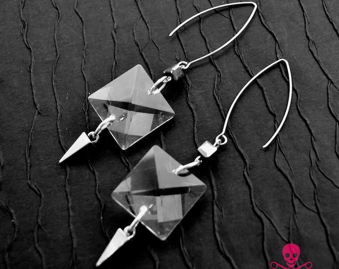 Crystal Facets Dangle Earrings - Silver