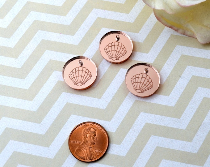 Rose Gold Sea Shell Disc Charms - Seashells - Circle - Laser Cut Acrylic