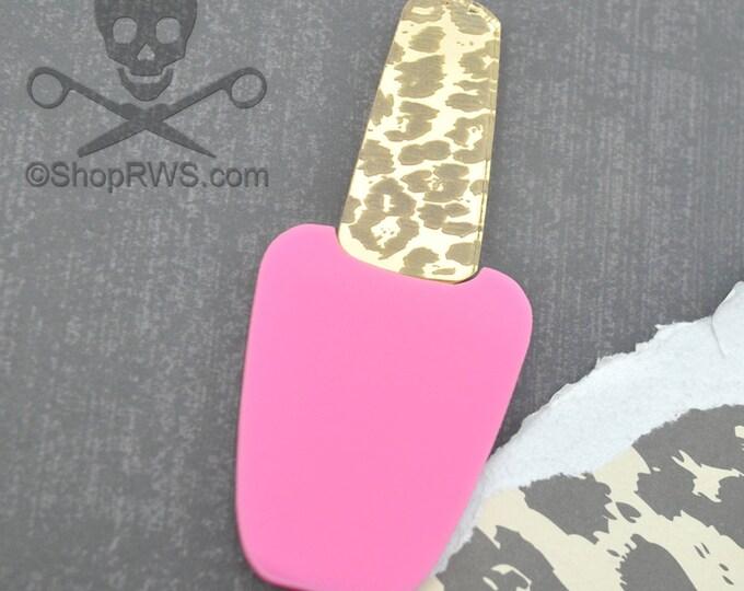 XL Pink and Gold Mirror Polish Cabochon - Laser Cut Acrylic - Bubblegum - Leopard Print