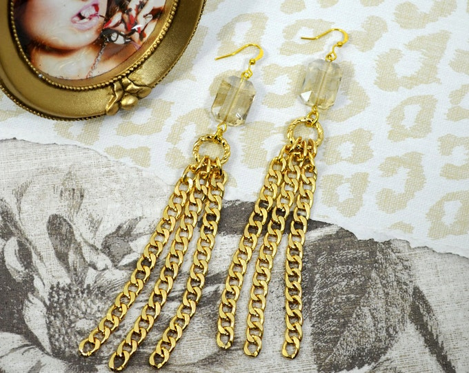 GOLDEN DREAMS -  Champagne colored large Crystal Bead Charm Golden Dangle Earrings