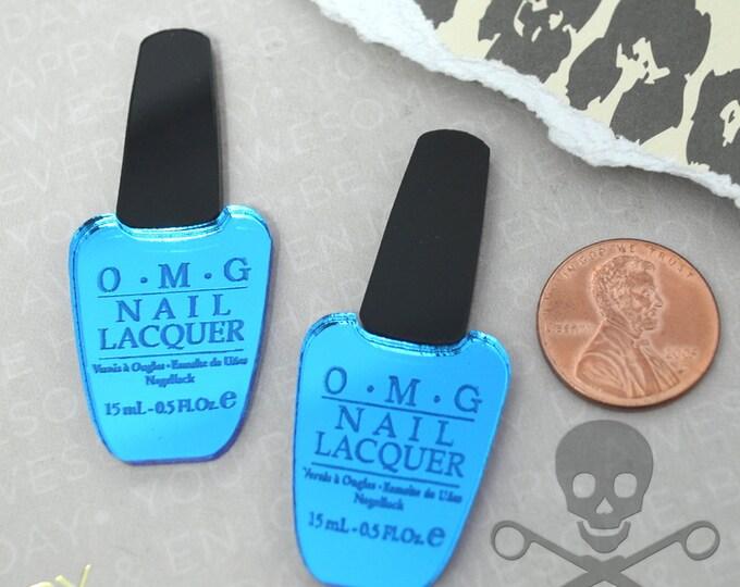 BLUE OMG Nail Polish CABS - Set of 2 Blue Mirror and Black Laser Cut Acrylic Cabochons