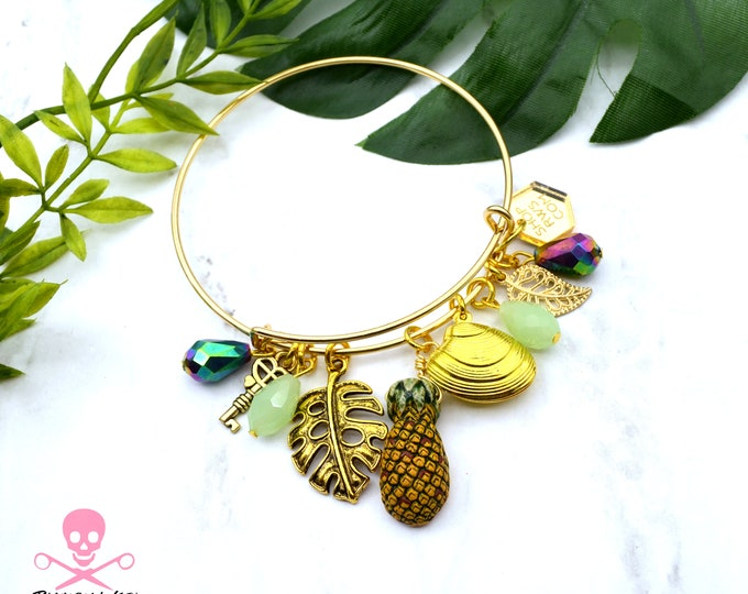 Tropical Dream- Couture Cuff Bracelet with Charms and Crystals