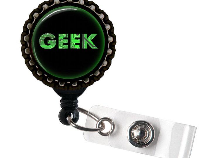 Geek - Black Retractable Badge Reel ID Holder