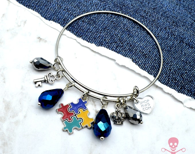 Autism Awareness - Couture Charm Cuff Bracelet with Charms and Crystals