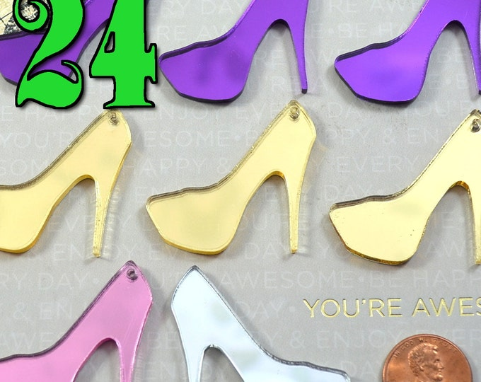 You Choose The Color - Wholesale High Heel Mirrored Cabochon Charm Lot - 24 Pieces