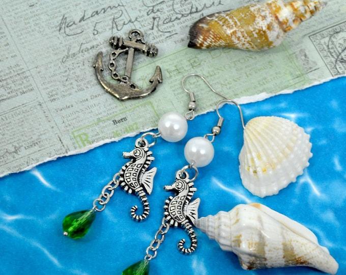 Silver Seahorse - Emerald Rhinestone Pearl Charm Crystal Earrings