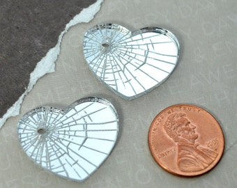SHATTERED HEART - Silver Mirror Laser Cut Acrylic Etched Cabs
