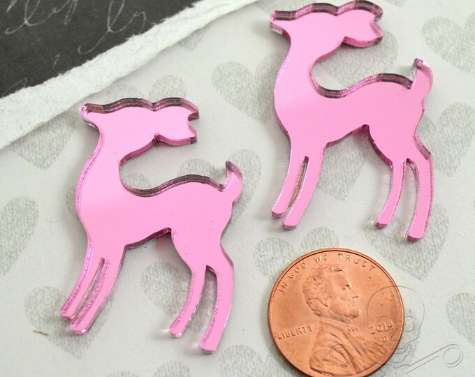 PINK MIRROR DEER - Set of 2 Cabochons in Laser Cut Acrylic