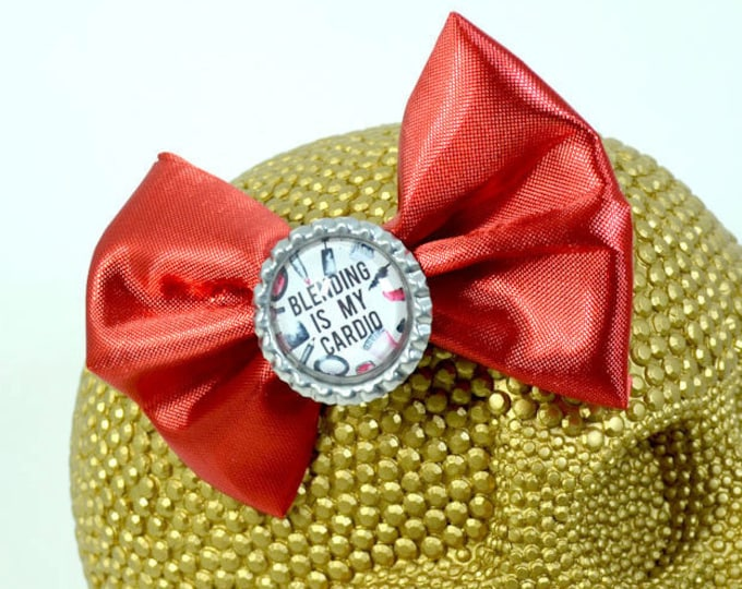 BLENDING is MY CARDIO - Round Glass Dome cabochon on shimmery red fabric Hair Bow on Alligator Clip