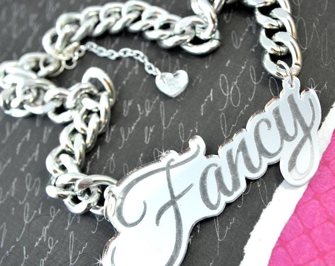 FANCY GIRL - Silver Mirror - Laser Cut Acrylic - Engraved Necklace
