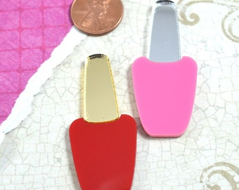 NAIL POLISH CABS - Set of 2 Red and Pink and Silver and Gold Mirror Laser Cut Acrylic Cabochons