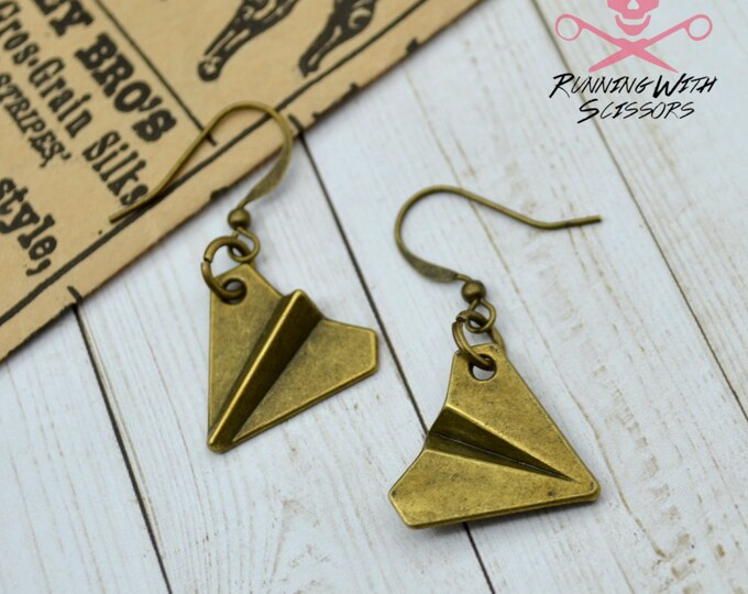 Bronze Vintage Chic Paper Airplane Wire Hook Earrings