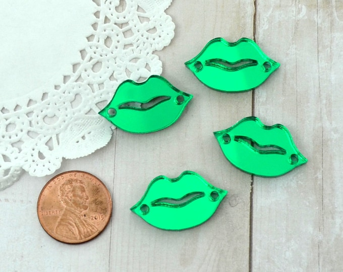 GREEN MIRROR  LIPS - 4 Charms - 2 Holes - In Laser Cut Acrylic