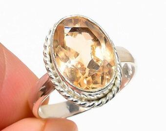 Morganite Oval - Morganite, Sterling Silver Ring, Size 7.5, 925, USA Seller, Genuine Stone, Oval Shaped, Handmade Gemstone Ring