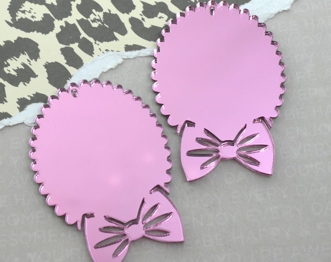 PINK MIRROR BOW- Cameos - 30x40 mm Settings - Laser Cut Acrylic