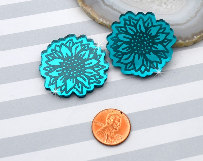SUNFLOWER CABOCHONS - Teal Mirror Laser Cut Acrylic - Set of 2 Flat Back Cabs