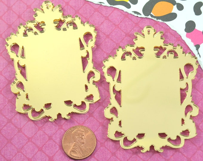 GOLD FILIGREE CAMEOS - Ornate Rectangle Settings - Mirror Laser Cut Acrylic