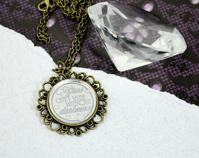 Engraved STARS Can't SHINE Without DARKNESS - Round Cameo Silver Glass Cabochon Necklace
