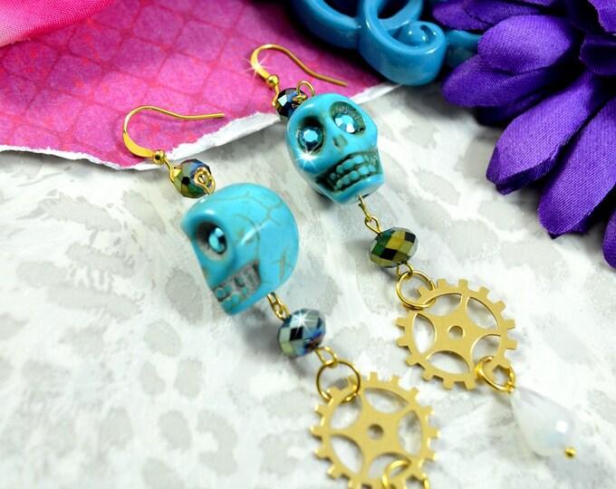 BONES AND GEARS - Blue Steampunk Skull Dangly Charm Earrings