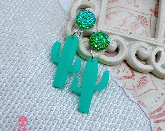 Turquoise Cactus Dangles - Post Top Earrings - Laser Cut Acrylic