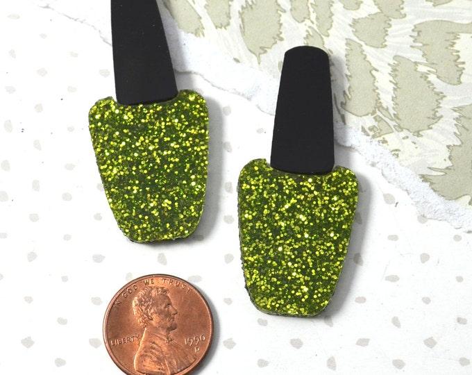 NAIL POLISH CABS - Set of 2 Zombie Green Glitter and Black Gloss Laser Cut Acrylic Cabochons