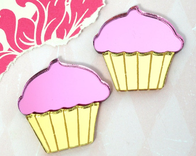 PINK and GOLD Mirror CUPCAKES- Etched Laser Cut Acrylic