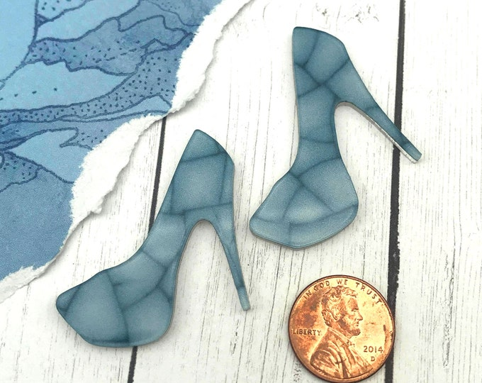 BLUE CRACKLE HEELS - 2 Cabochons in Laser Cut Acrylic