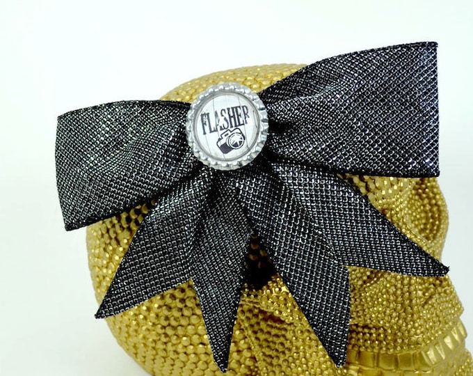 FLASHER - Round Glass Dome cabochon on sparkly black fabric large Hair Bow on Alligator Clip