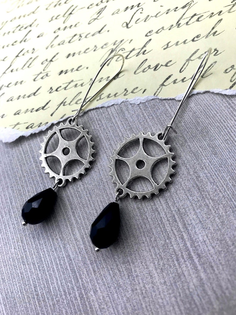 Steampunk Gear Dangle Earrings GEARS TURNING