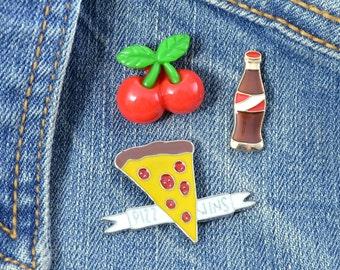 PIZZA GIRL - Enamel Pin Set - Slice of Pizza - Soda - Cherries - 3 Pins