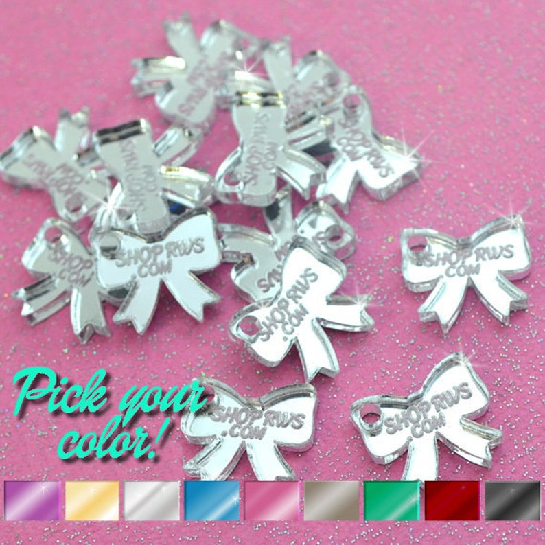 50 or 100 Qty Mirror Bows- Personalized CUSTOM JEWELRY TAGS