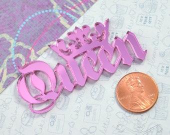 QUEEN CABOCHON- In pink mirror Laser Cut Acrylic
