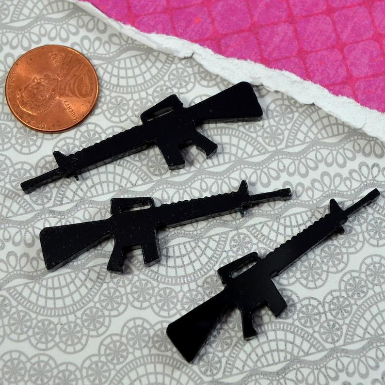 3 AK-47 CABOCHON - Charms In Black Laser Cut Acrylic - Pistol Gun Rifle