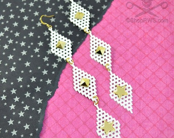 ROCKSTAR EARRINGS - White Mesh and Gold Spiked Dangly Charm Earrings