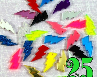 LIGHTNING BOLT LOT - Set of 25 Charms or Cabs in Laser Cut Acrylic