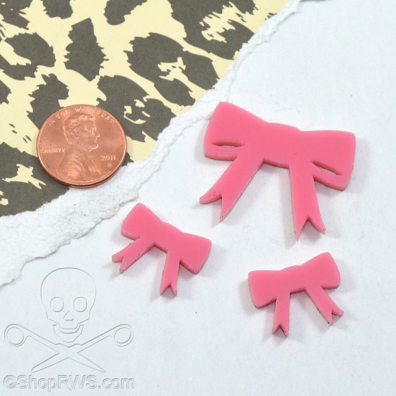 PINK BOW CABS  Set of 3 Cabochons in Laser Cut Acrylic image 0