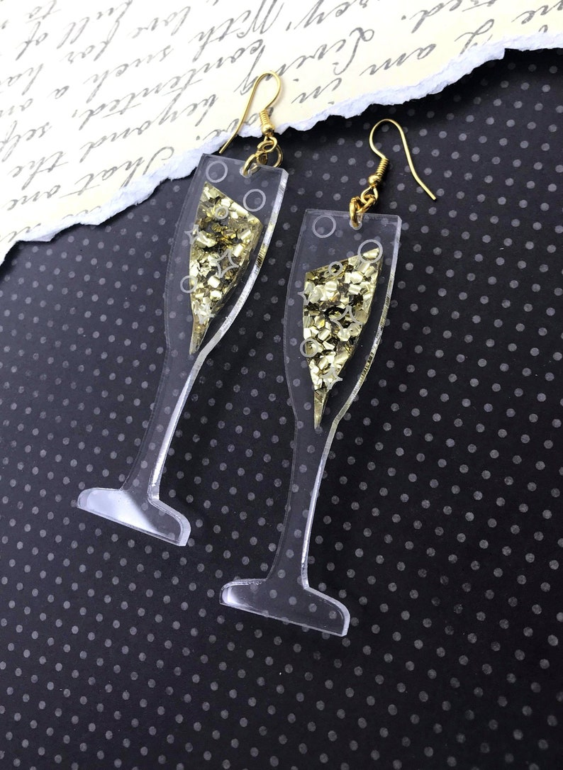 dc37cc4c156e7 BUBBLY EARRINGS - Translucent Glittery Champagne Flutes Laser Cut Acrylic  Earrings