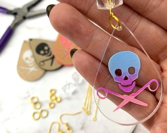 EARRING KIT - Skull and Scissors Teardrop Dangles - Choose Your Colors - Design, Paint, and Make Your Own - DIY - Running With Scissors