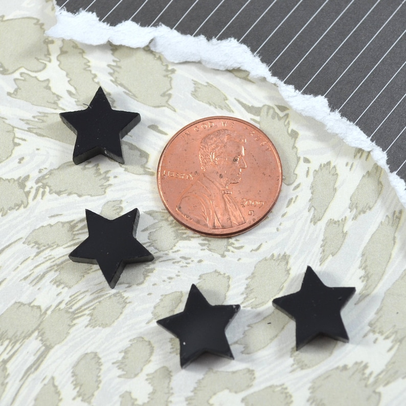 GLOSSY BLACK STARS  Set of 4 Cabochons in Laser Cut Acrylic image 0