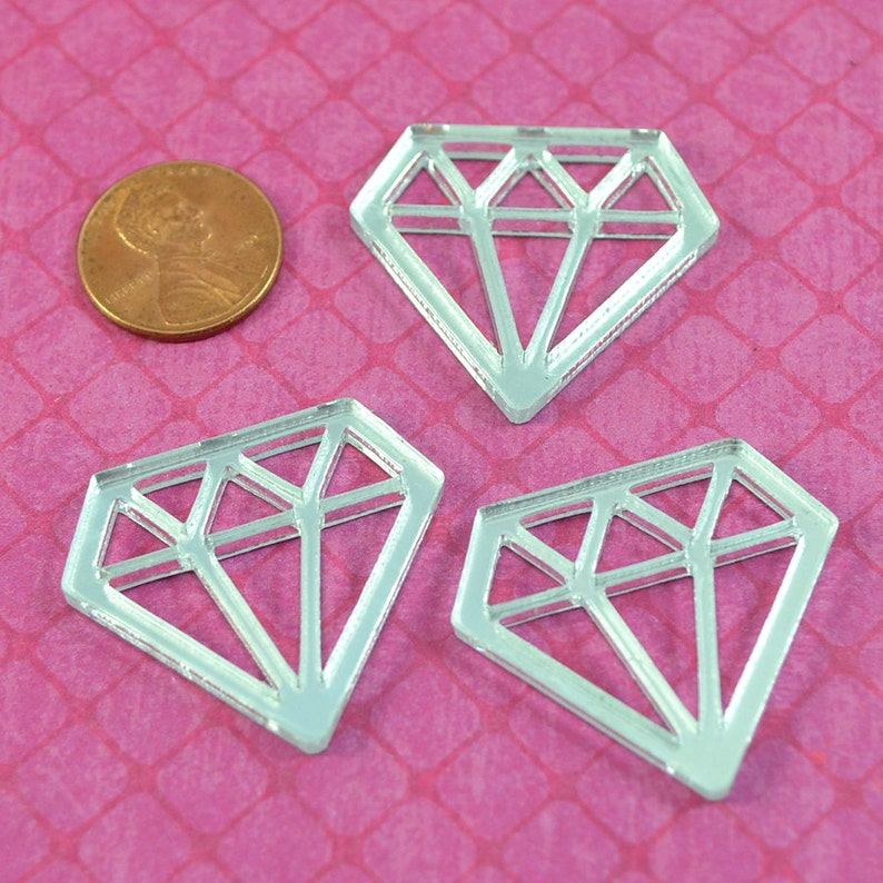 SILVER MIRROR DIAMONDS  Set of 3 Cabs in Laser Cut Acrylic image 0
