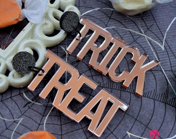TRICK OR TREAT Laser Cut Acrylic Post Dangle Earrings