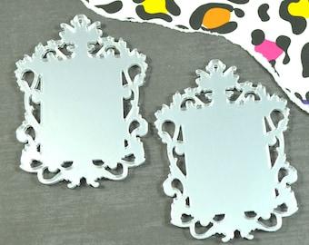 SILVER FILIGREE CAMEOS - Ornate Rectangle Settings - Mirror Laser Cut Acrylic
